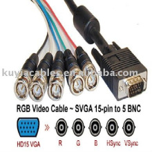RGB Monitor Cable 5 BNC Cable to 15pin HD plug